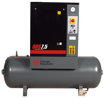 QRS 7.5 air compressor and storage tank by chicago pneumatic