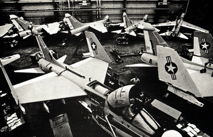 rows of fighter jets tightly positioned by air bearings in a military facility