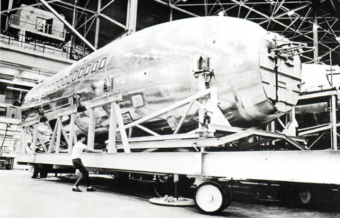 Assembly equipment for the Boeing 727 being floated on top of an air bearing system